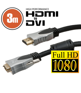 Cablu Dvi-d la Hdmi 3m Profesional aurit Delight
