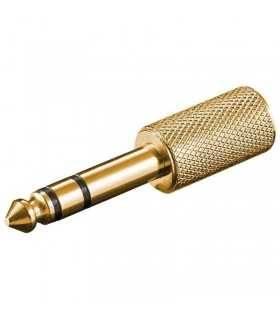 Adaptor JACK 6.35mm tata stereo - 3.5mm mama stereo Gold Goobay