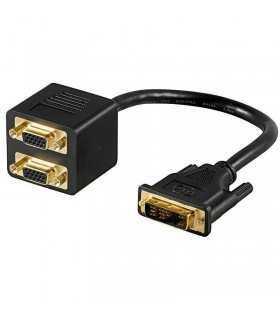 Cablu adaptor DVI-I 12+5 la 2xVGA mama Goobay