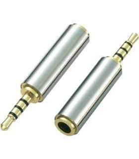 Adaptor Jack 4 pini 2.5 tata la 4 pini 3.5 mama metal