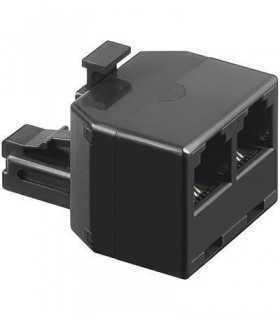 Adaptor RJ11 tata la 2x RJ11 mama negru Goobay