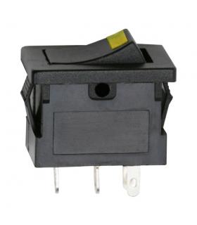 Interupator basculant 1 circuit OFF-ON LED galben 12V 15A cu retinere 09027SA