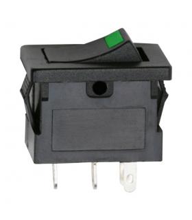 Interupator basculant 1 circuit OFF-ON LED verde 12V 15A cu retinere