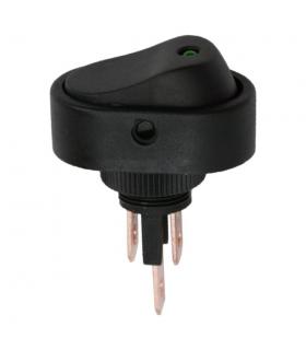 Interupator basculant 1 circuit 12V 20A OFF-ON LED verde cu retinere
