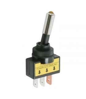 Comutator cu brat 1 circuit 20A 12V OFF-ON cu LED galben