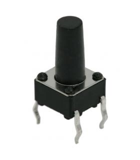 Microinterupator 6x6mm cu buton lung 7mm 1 circuit 0.05A-12VDC OFF-ON fara retinere