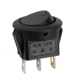 Interupator basculant 1 circuit 12V 16A OFF-ON LED galben cu retinere