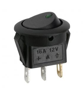 Interupator basculant 1 circuit 12V 16A OFF-ON LED verde cu retinere