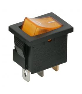 Interupator basculant 1 circuit 6A 250V OFF-ON galben cu retinere
