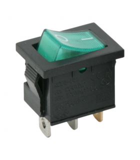 Interupator basculant 1 circuit 6A 250V OFF-ON verde cu retinere
