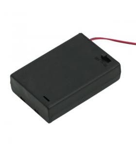 Suport baterii 3buc AA cu capac intrerupator si fire