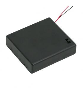 Suport baterii 4buc AA cu capac intrerupator si fire