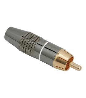 Mufa RCA tata contact aurit cablu 6mm cu inel alb