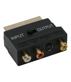 Adaptor 3x RCA si S-vhs la Scart tata aurit