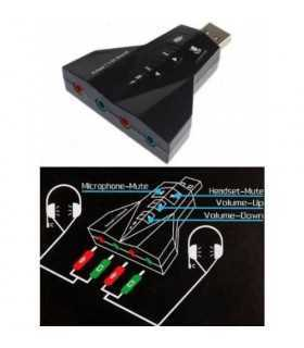 Placa de sunet 7.1 Usb la 4x 3.5mm Jack volume si mute