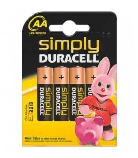 Baterii Duracell alcaline AA R6 4buc