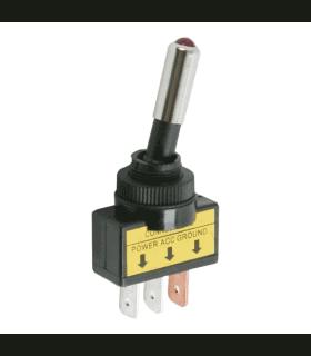 Intrerupator cu brat 1 circuit 20A 12VDC OFF-ON cu LED rosu