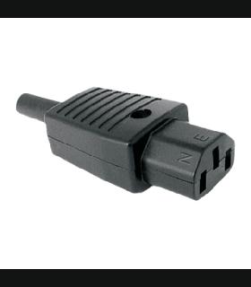 Mufa CA 10A 250VAC C13 mama tip PC cu protectie cablu montare pe fir