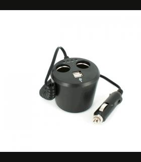 Priza dubla USB +2 brichete auto si cu tester baterie