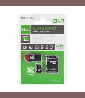 MicroSD card 16GB Clasa 10 cu adaptor SD si cititor Platinet