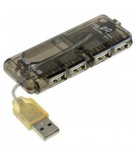 Hub USB 2.0 4 port negru posibilitate alimentare cu 5V