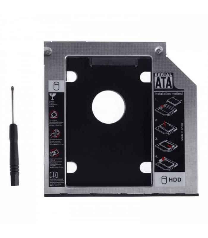 Rack adaptor super slim DVD SATA caddy la 2.5 SATA HDD sau SSD 9mm