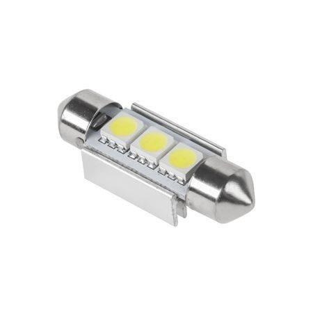 Bec LED 3x SMD5050 alb auto CANBUS 12V 1.5W 30lm T11 SV8.5 36mm Vipow