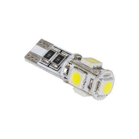 Bec LED 5x SMD5050 alb auto CANBUS T10 12V 1.8W 45lm Vipow