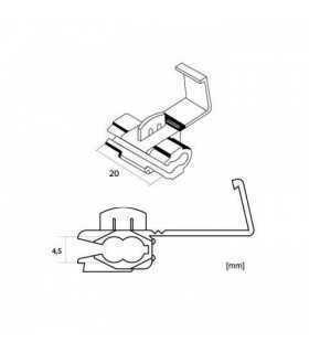 Conector rapid adaugare cablu max 1mm 4.5x20mm rosu