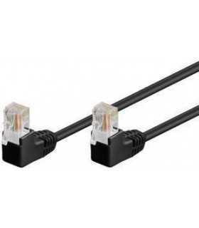 Cablu patch UTP CAT5e RJ45 2x 90 grade 2m negru Goobay