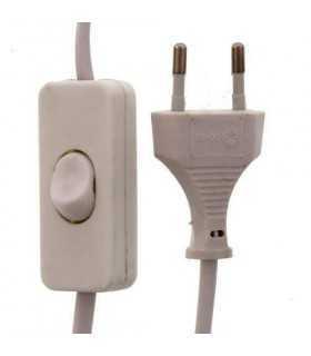 Cablu alimentare cu intrerupator pe fir 2x0.75mmp 2m alb Well