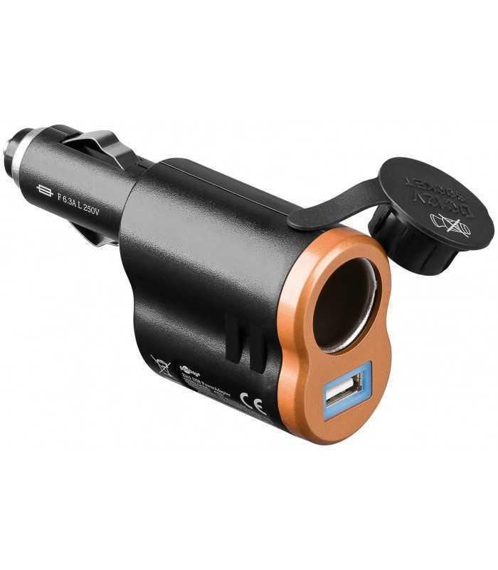 Adaptor bricheta masina 2 in 1 6A USB 1A Goobay