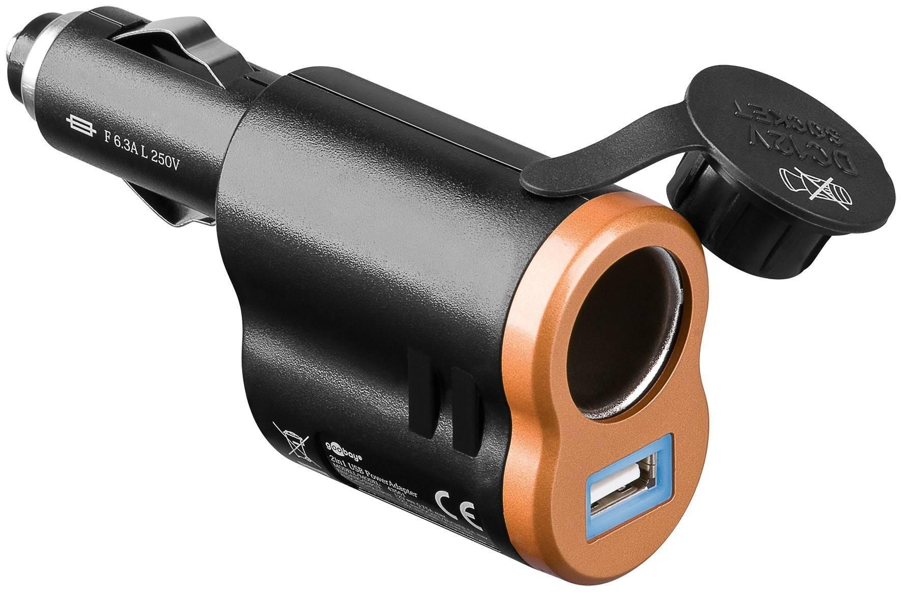 Adaptor bricheta masina 2in1 6A USB 1A Goobay