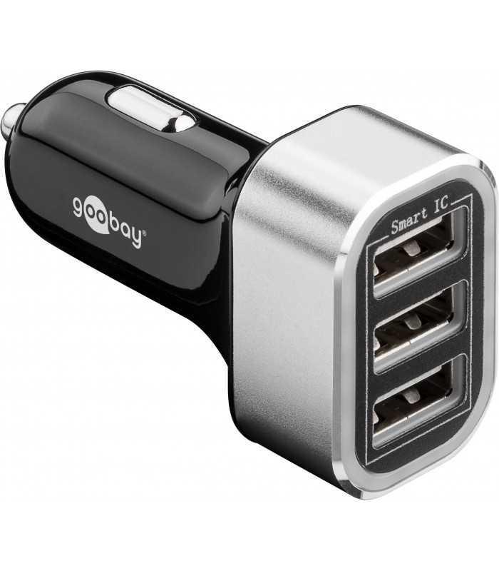 Alimentator USB bricheta auto 3 iesiri 5.5A negru Goobay