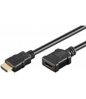 Cablu HDMI tata - HDMI mama High Speed Ethernet contacte aurite 2m Goobay