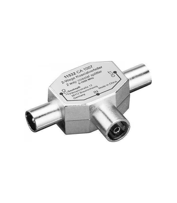 Distribuitor semnal splitter TV metalic intrare coaxial mama - 2x coaxial iesiri tata spliter