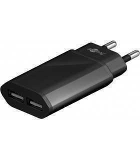Alimentator 230V la 2x USB 2.1A negru Goobay