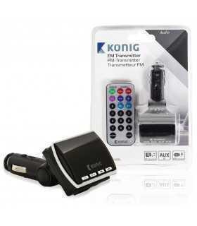 Transmitator Konig FM negru cu telecomanda