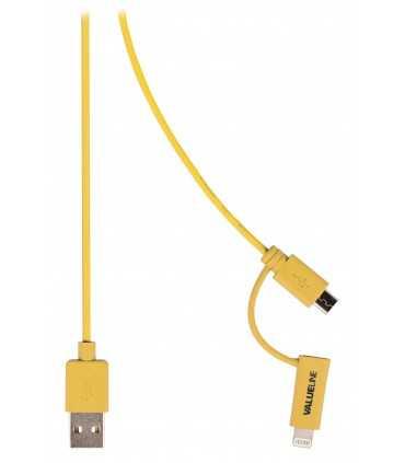 Cablu de incarcare si sincronizare USB 2.0 A tata - micro USB tata cu adaptor lightning 1m galben Valueline